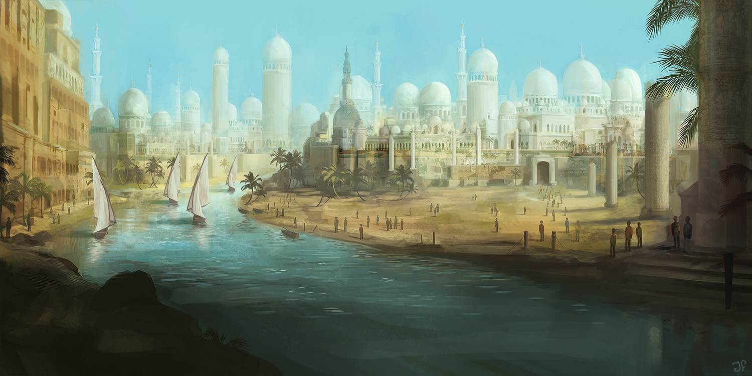 ancient desert city with a large river and boats
