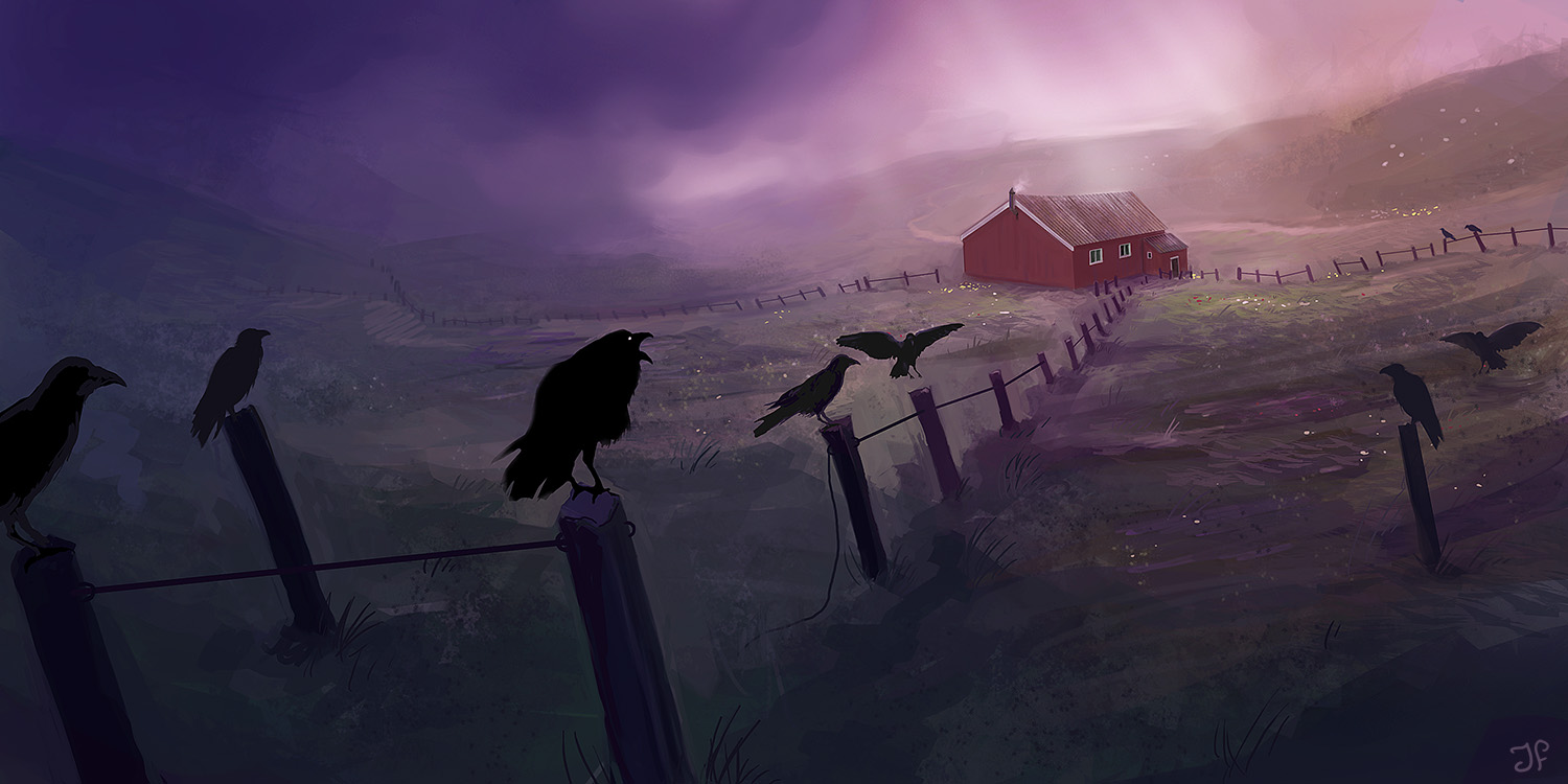creepy farm surrounded by crows