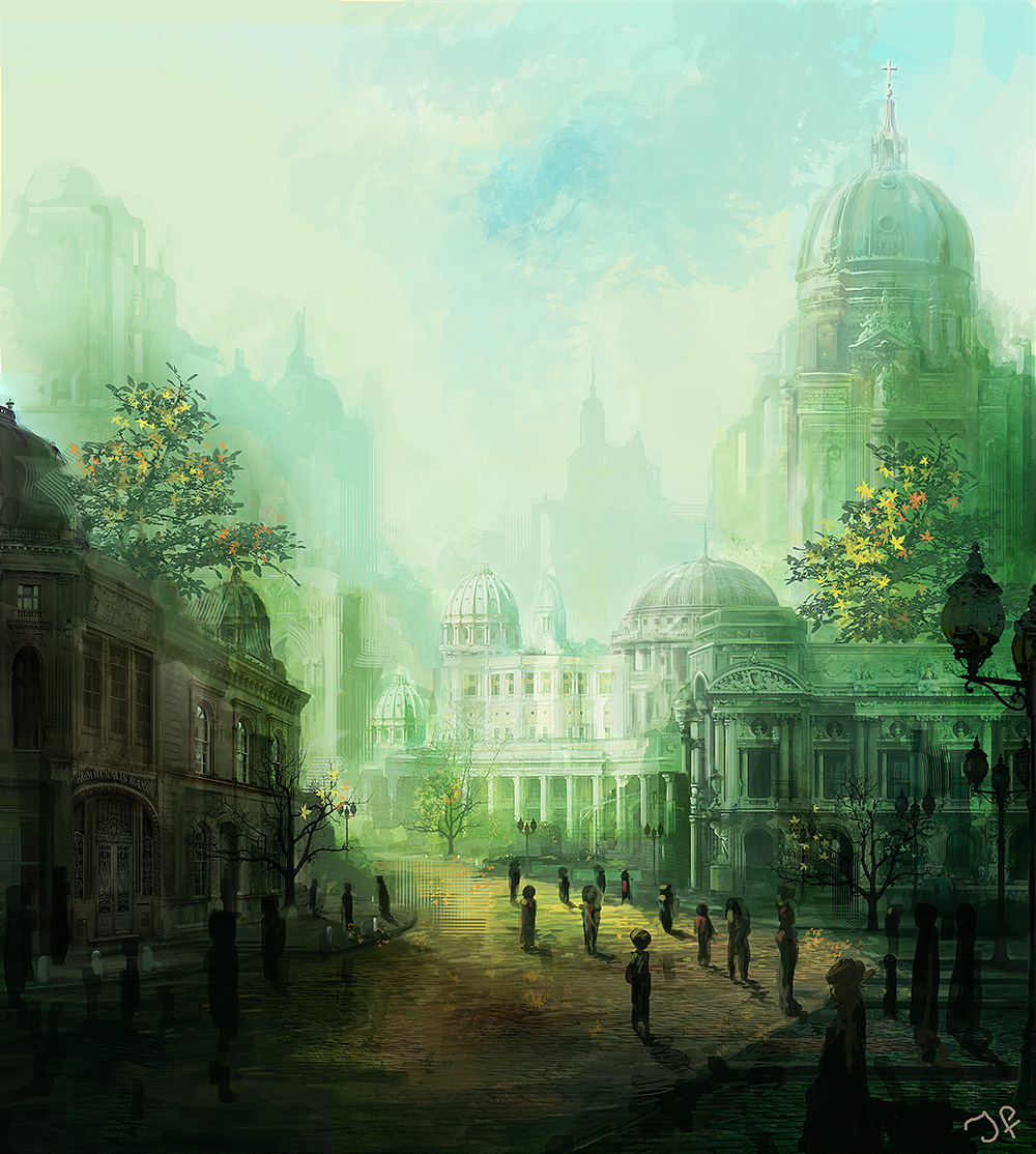 a green city with ornate buildings and yellow road