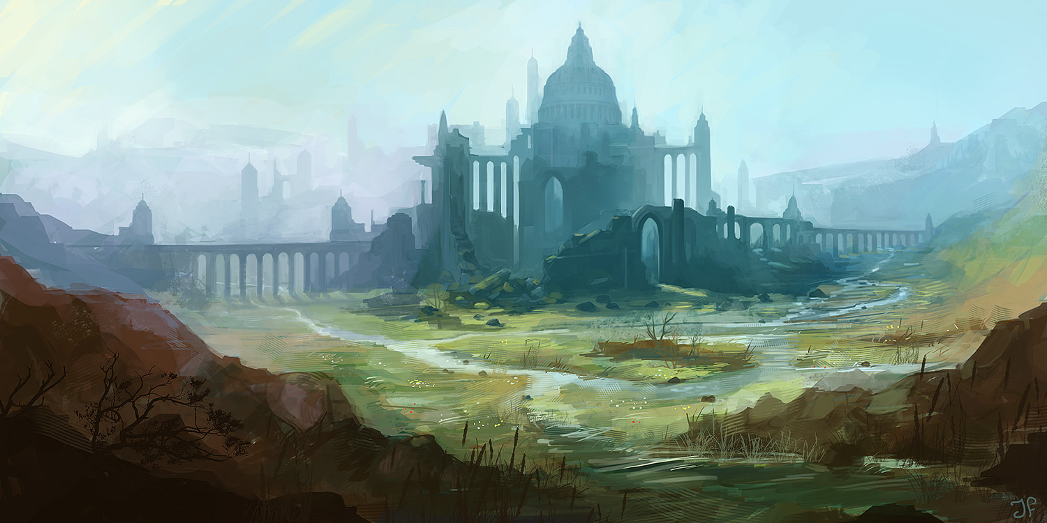 environment concept art of old castle within a swamp