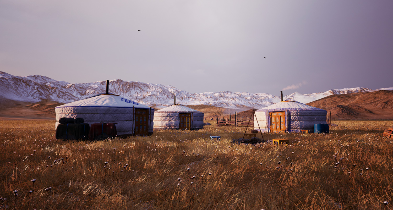 screenshot of yurts from the front