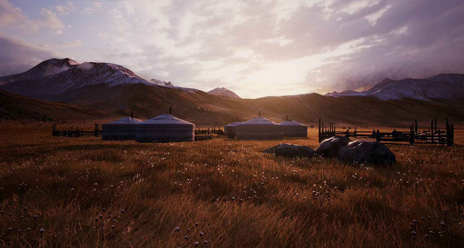 screenshot of yurts form the back