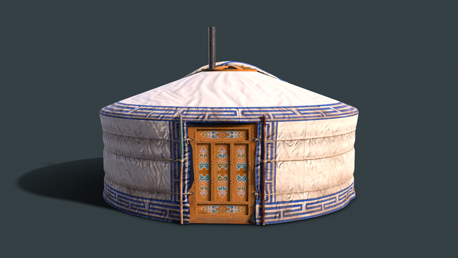 render of a yurt